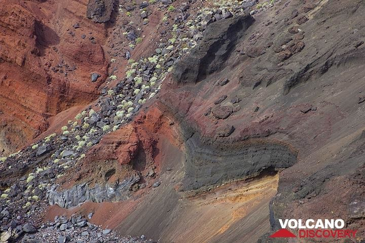 Red and gray scoria layers in an exposed cinder cone at the south coast of El Hierro Island (Canaries) (Photo: Tom Pfeiffer)