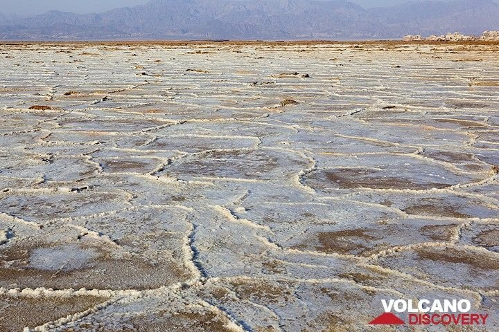 The dried crust of the salt lake Assale in the northn Danakil depression in Ethiopia near the Eritrean boundary. The salt here is several kilometers thick and the result of larg-scale evaporation of sea water when the area now lying at 130 m below sea level had access to the Red Sea. The deep trench, or graben, where the lake is located was formed by giant tectonic forces ripping Africa apart along the Rift Valley. (Photo: Tom Pfeiffer)