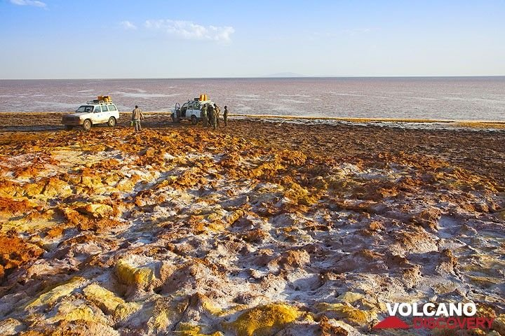 Our amphibious vehicles at Dallol (Photo: Tom Pfeiffer)