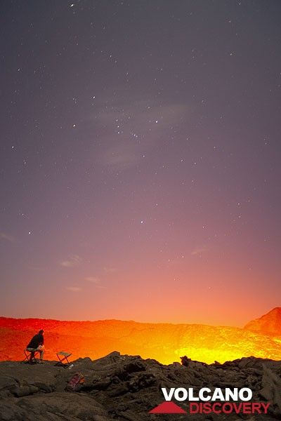 Watching the lava lake at night (Photo: Tom Pfeiffer)