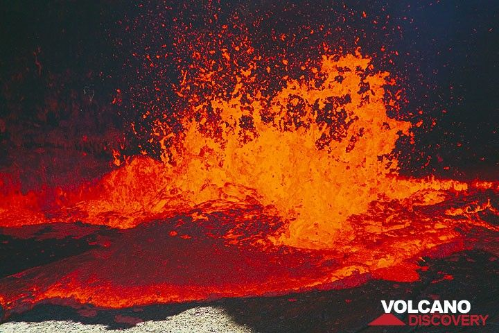 The lava fountains can reach up to 10-15 meter height sometimes. (Photo: Tom Pfeiffer)