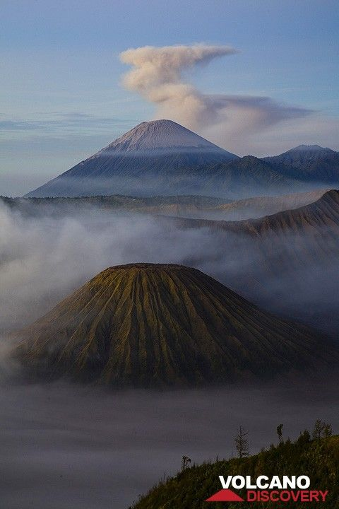 Semeru volcano towering over the gullied cone of Batok  (c)