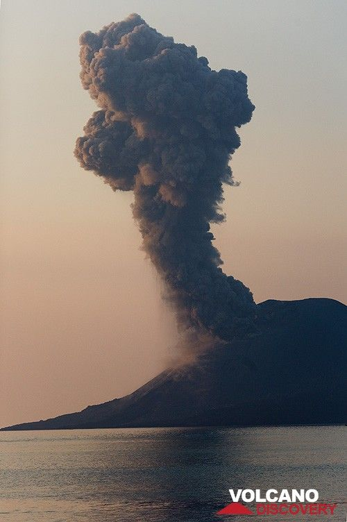 Ash plume from an eruption in the evening. (c)