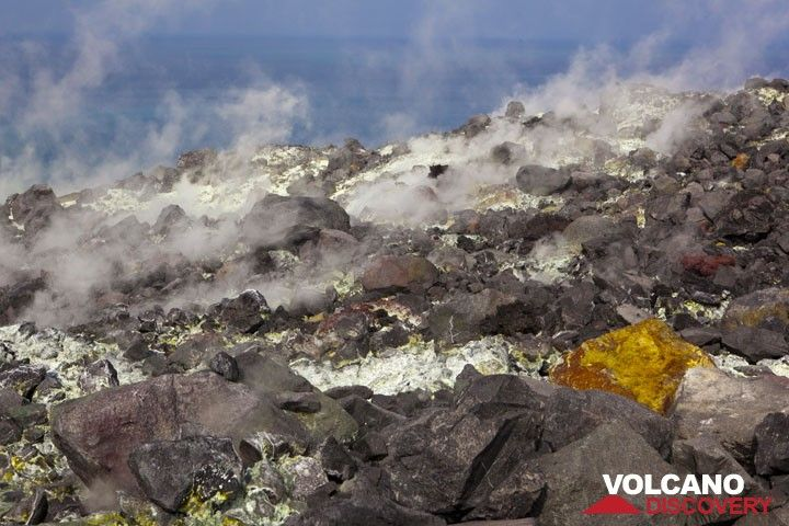 Dozends of fumaroles form a bizarre field to cross which one needs a gas mask. (Photo: Tom Pfeiffer)