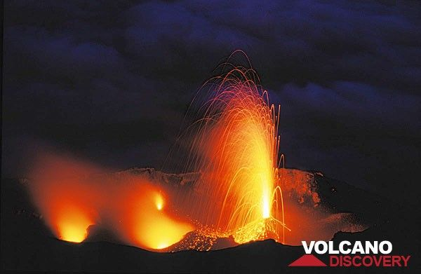 Strong candle-like eruption from the central crater vent of Stromboli.