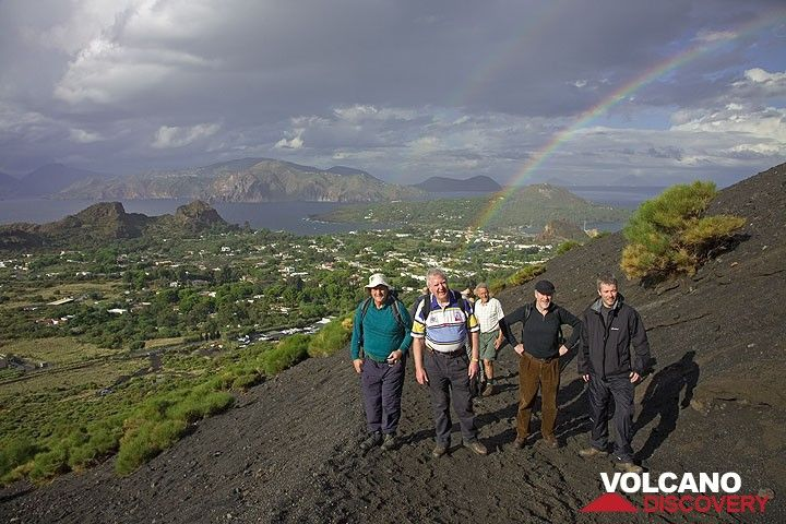 A beautiful rainbow behind us over Vulcanello. Lipari island in the background, as well as Panarea and Stromboli islands. (Photo: Tom Pfeiffer)
