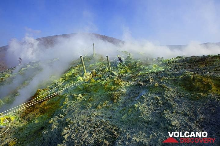 Steam and sulphur dioxide gas escape from numerous fumarole vents on the ground. (Photo: Tom Pfeiffer)