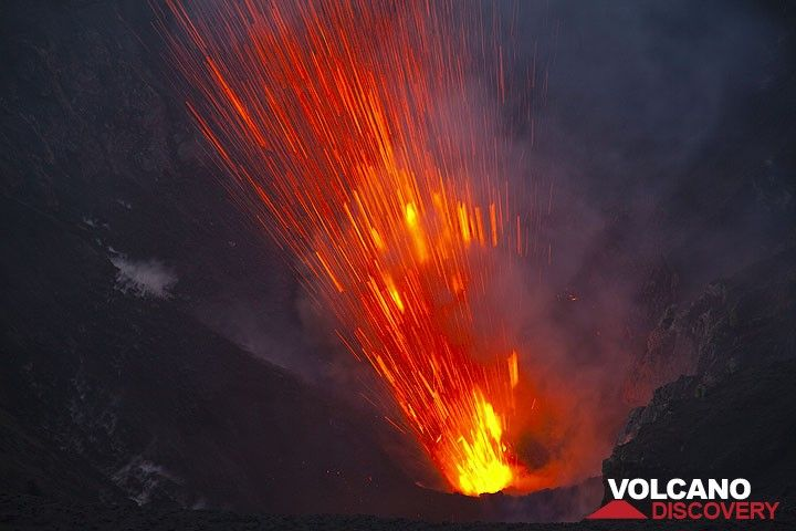 A jet of lava shoots out from one of the vents in the western crater (Photo: Tom Pfeiffer)