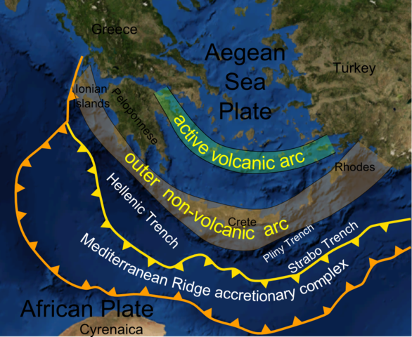 The Aegean and its main features (courtesy: WIkimedia Commons, http://en.wikipedia.org/wiki/File:Hellenic_arc.png)