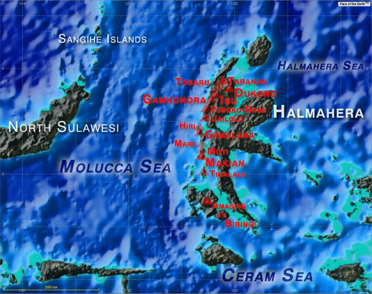 Map Of Volcanoes In Indonesia. Map showing major active