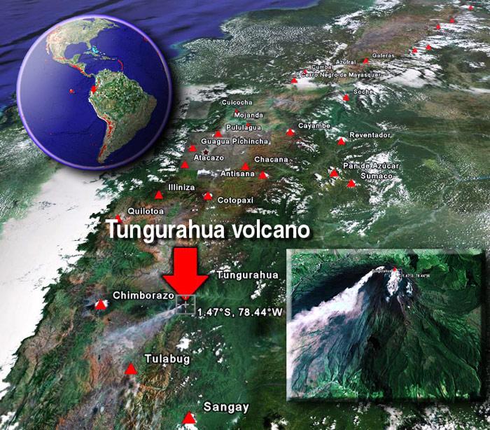 """• Los eventos de """"El Niño"""" se van a duplicar... Tungurahua-volcano-sat"""