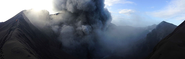 Panorama view over the crater of Dukono volcano (Halmahera, Indonesia) with ash emissions (Photo: Gian Schachenmann)