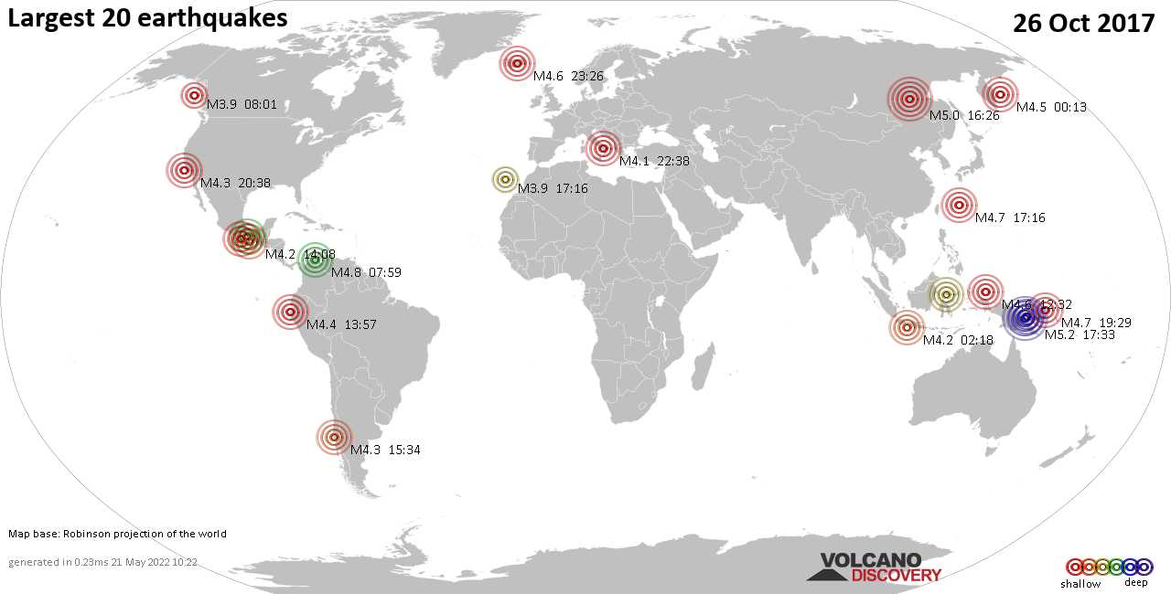 List and maps of the 20 largest earthquakes on Thursday, 26 Oct 2017