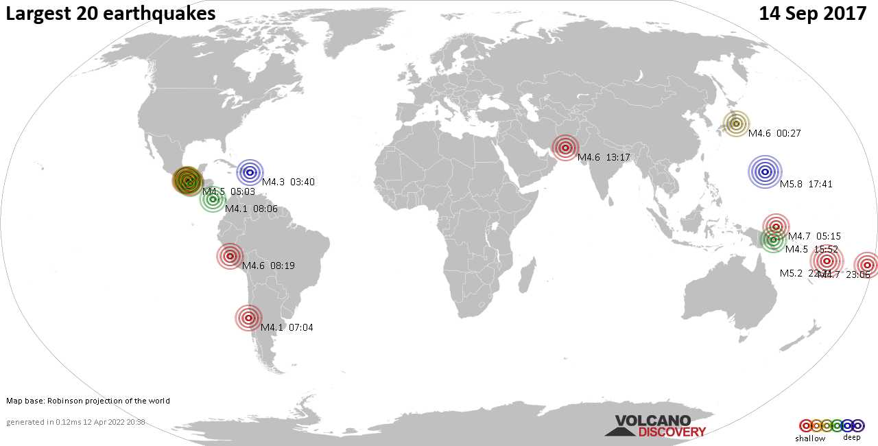 List and maps of the 20 largest earthquakes on Thursday, 14 Sep 2017