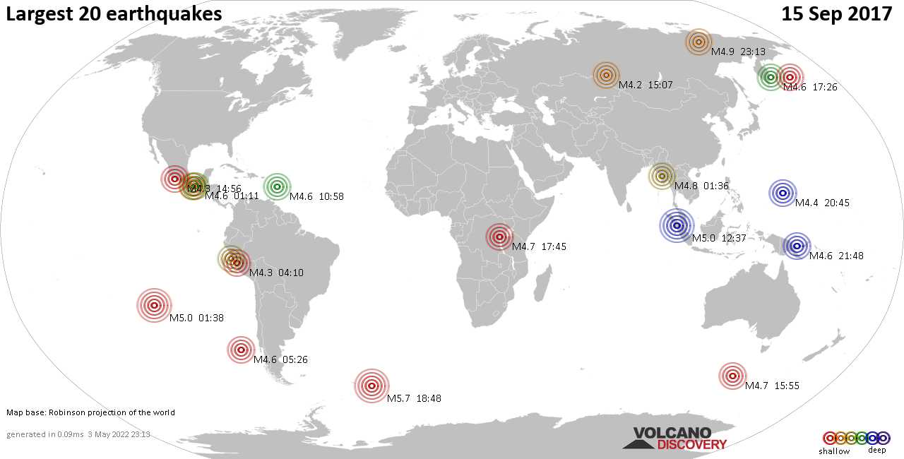 List and maps of the 20 largest earthquakes on Friday, 15 Sep 2017