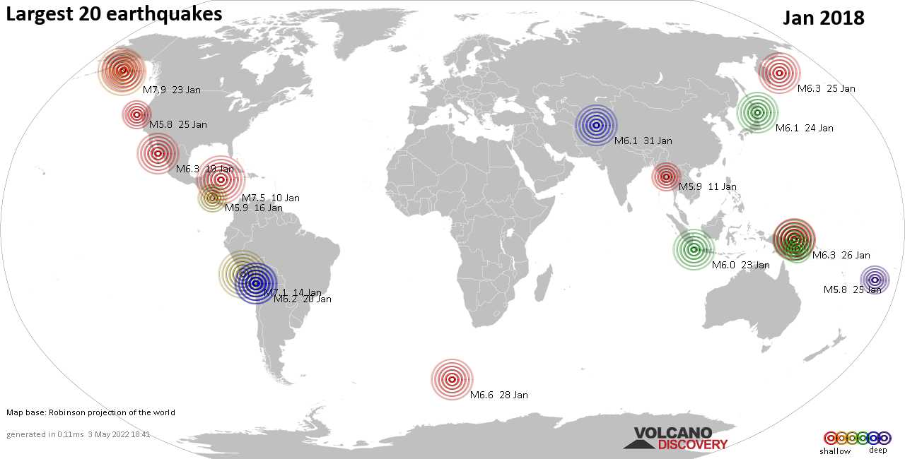 List and maps of the 20 largest earthquakes in Jan 2018