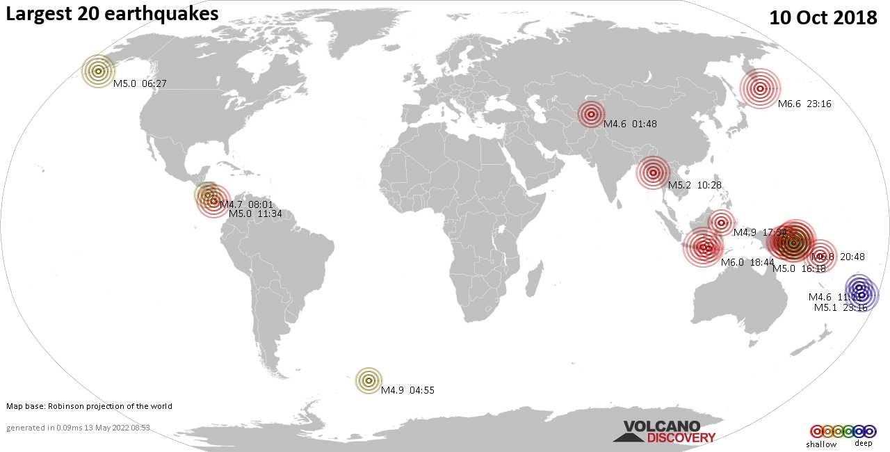 List and maps of the 20 largest earthquakes on Wednesday, 10 Oct 2018