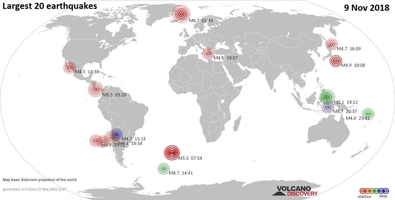 List and maps of the 20 largest earthquakes on Friday,  9 Nov 2018