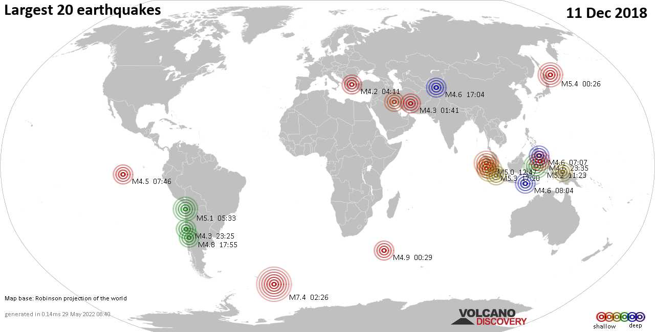 List and maps of the 20 largest earthquakes on Tuesday, 11 Dec 2018