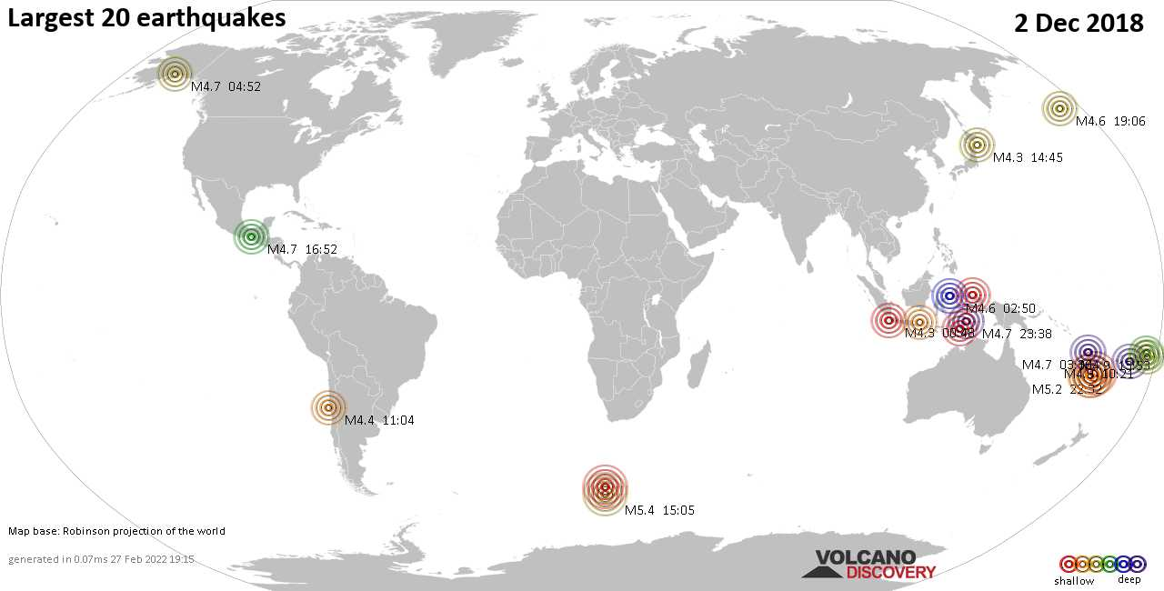 List and maps of the 20 largest earthquakes on Sunday,  2 Dec 2018