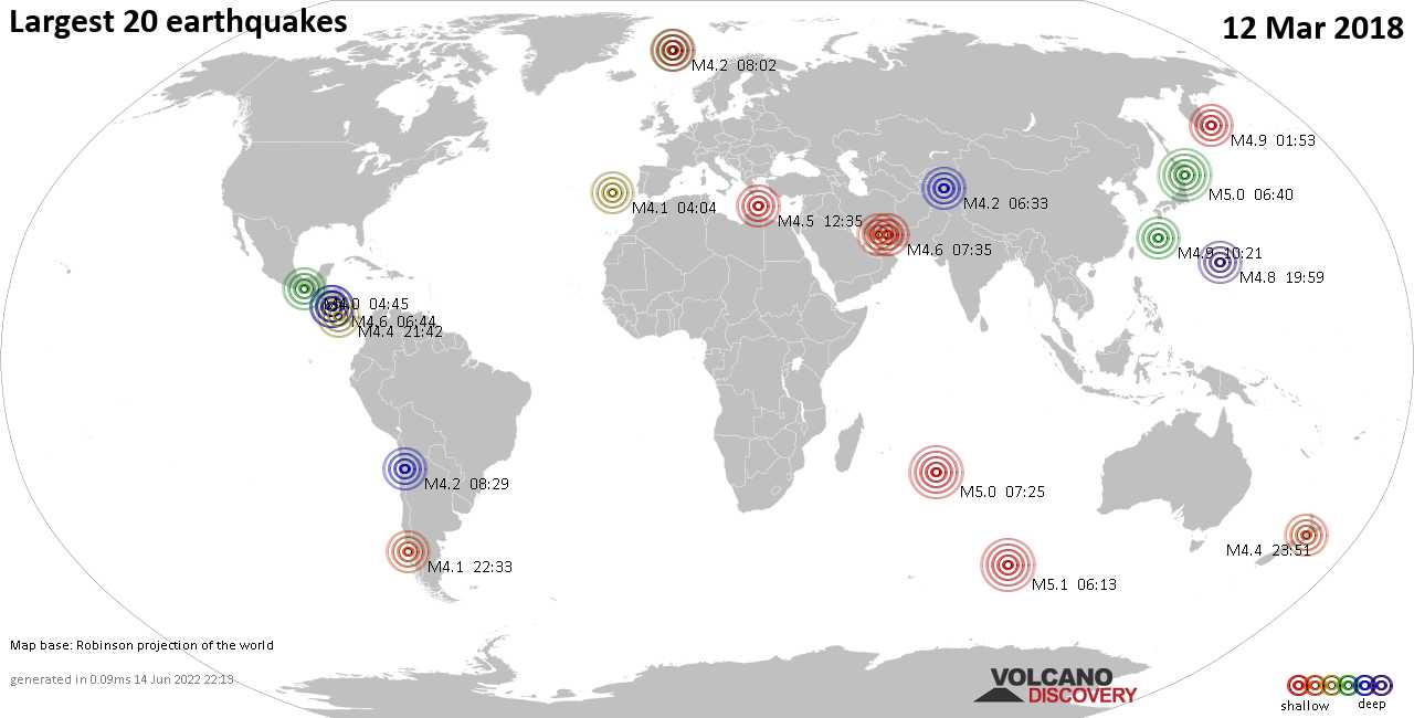 List and maps of the 20 largest earthquakes on Monday, 12 Mar 2018