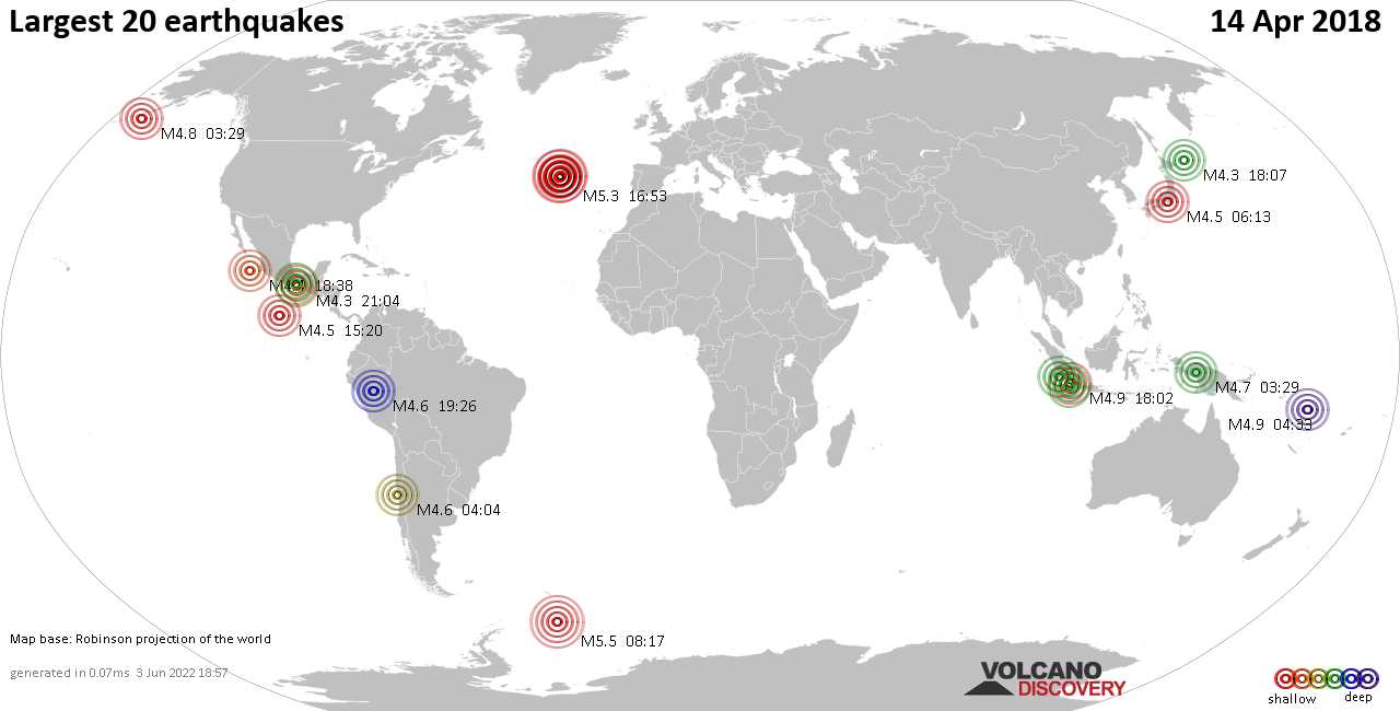 List and maps of the 20 largest earthquakes on Saturday, 14 Apr 2018