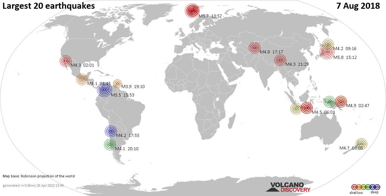 List and maps of the 20 largest earthquakes on Tuesday,  7 Aug 2018