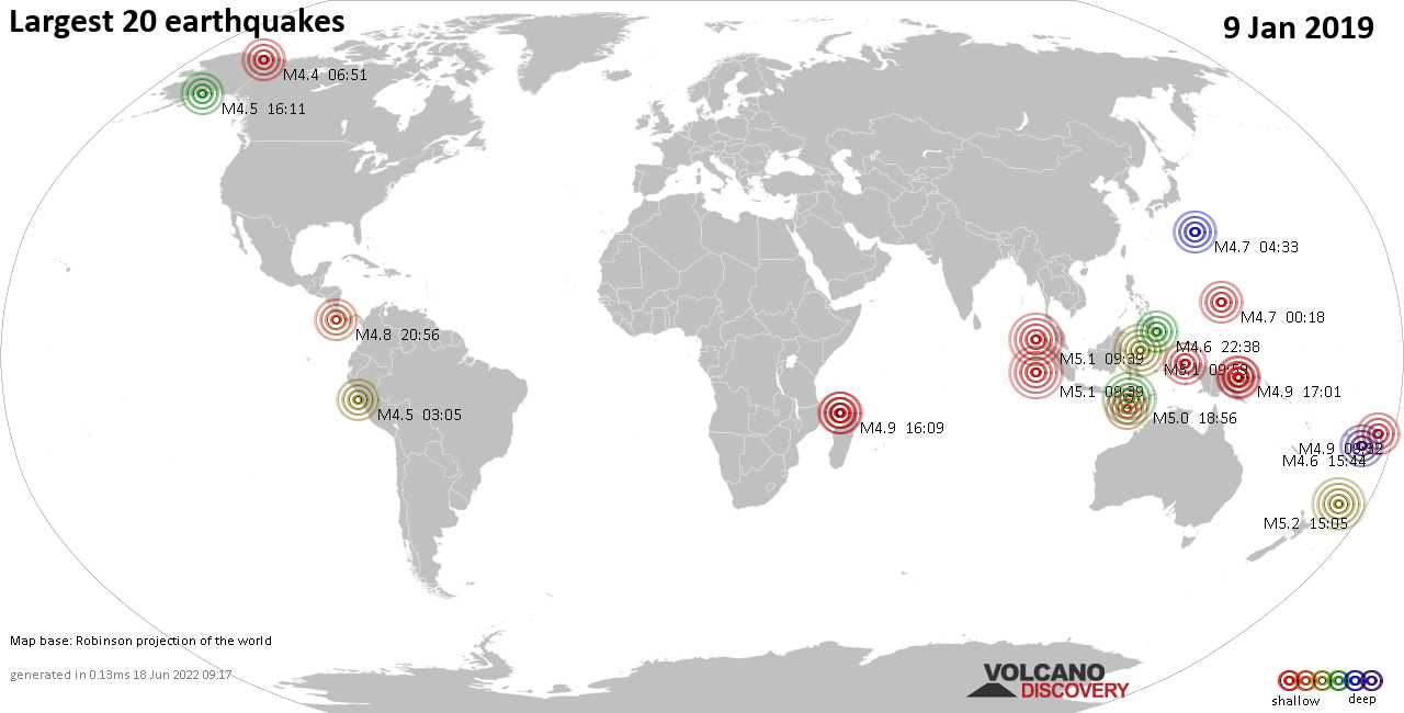 List and maps of the 20 largest earthquakes on Wednesday,  9 Jan 2019