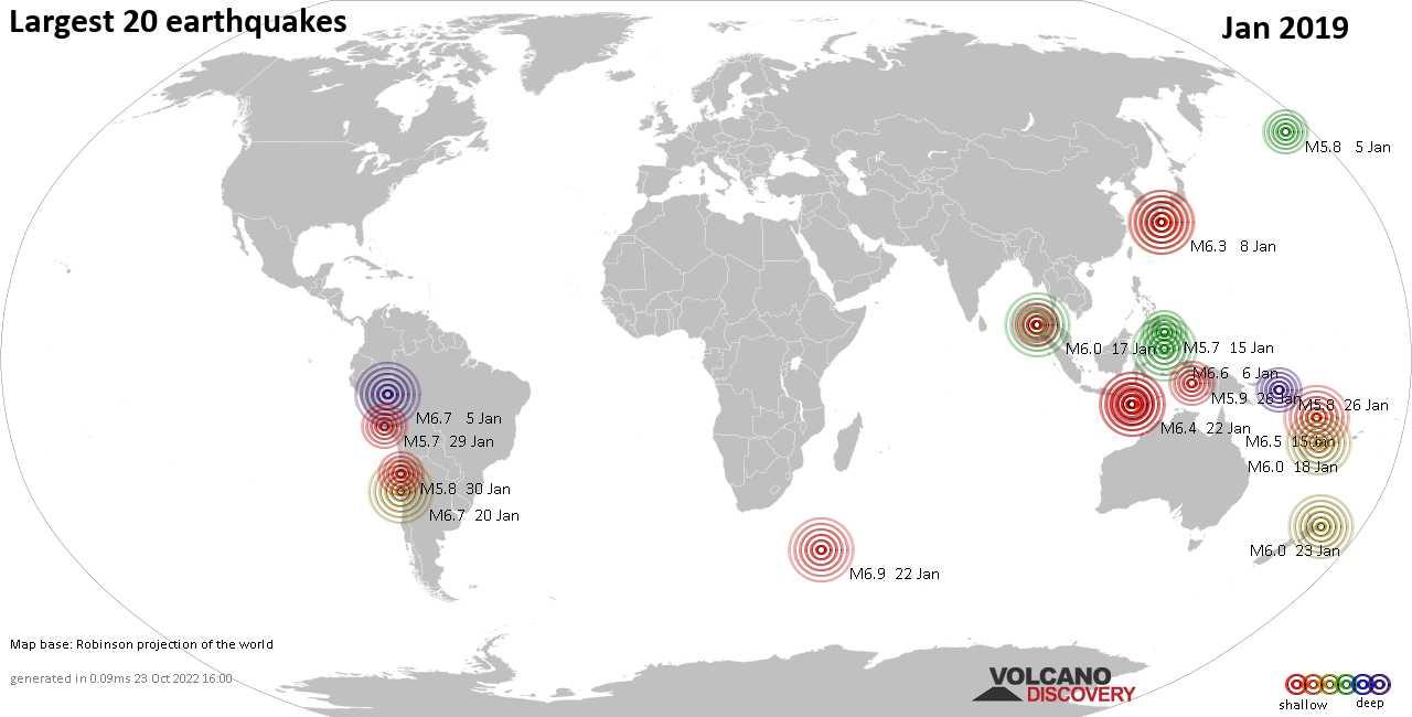 Aktuelle Erdbebenliste weltweit heute, Wednesday, 16 January 2019 ...