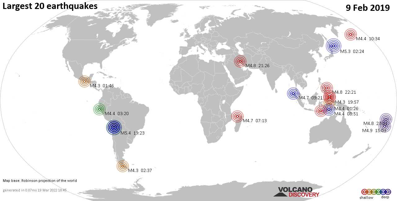 List and maps of the 20 largest earthquakes on Saturday,  9 Feb 2019