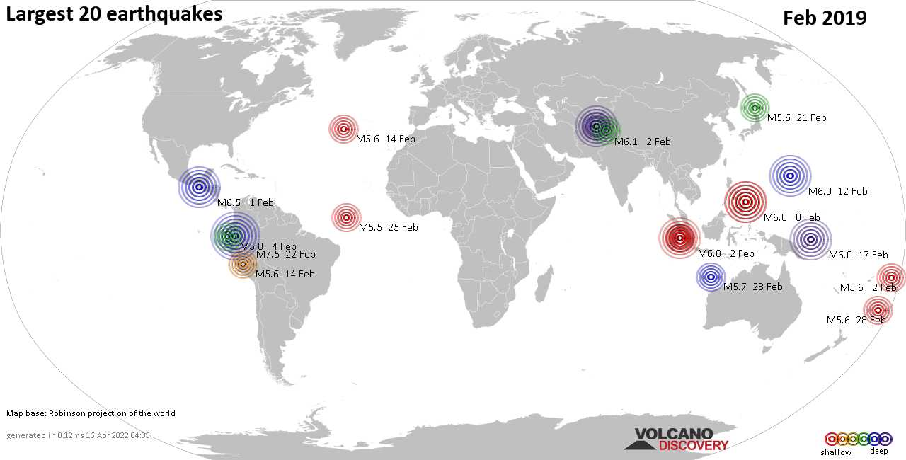 Latest earthquakes world-wide today - complete worldwide list and ...