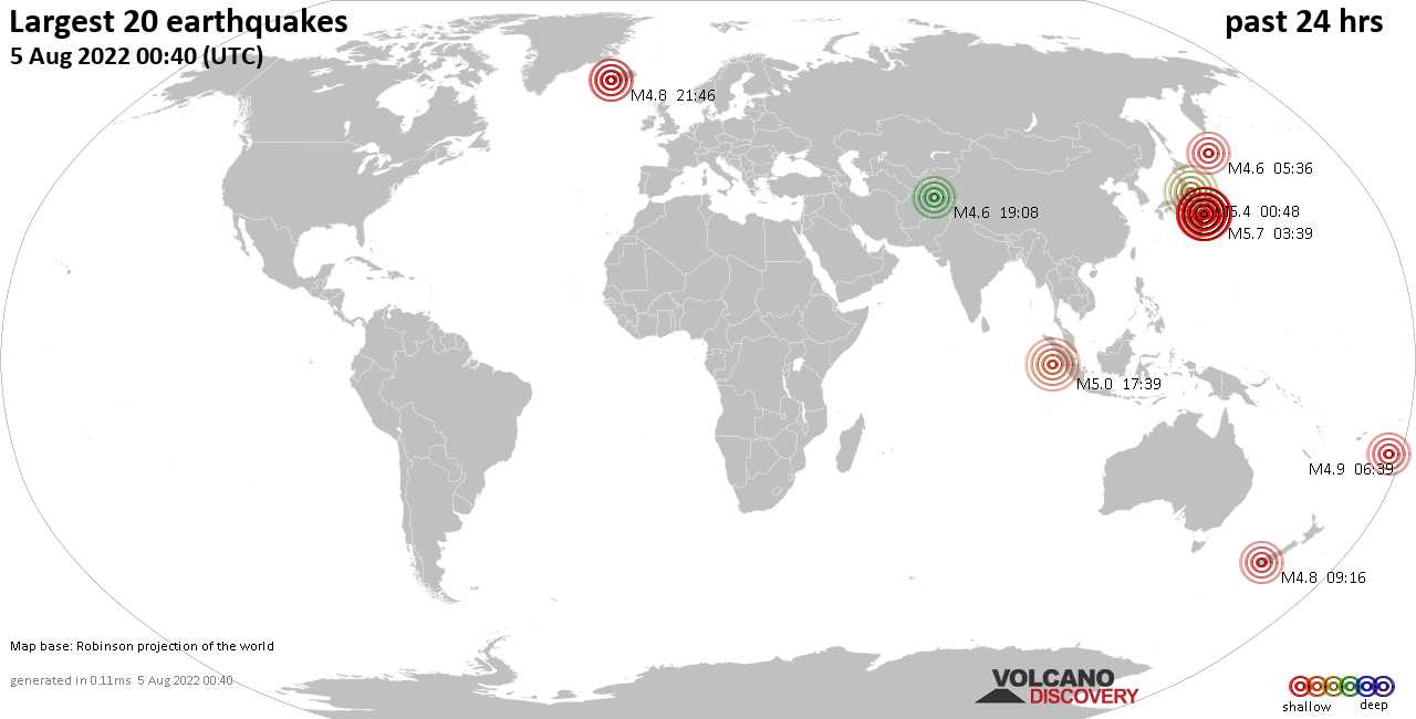 List and maps of the 20 largest earthquakes during the past 24 hours