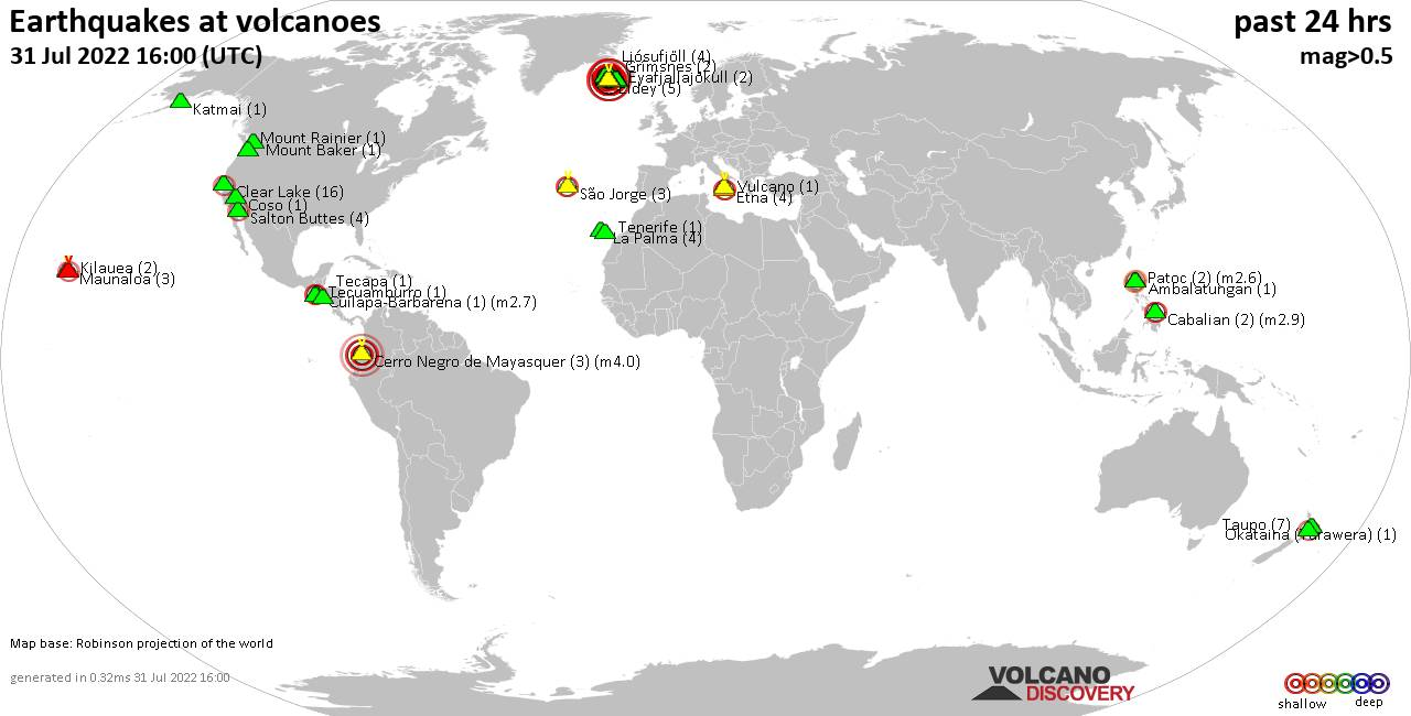 Shallow earthquakes near active volcanoes during the past 24 hours (update 22:25, Freitag, 22 Feb 2019)