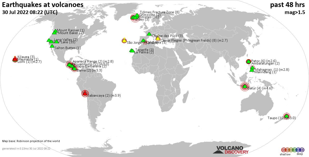 Shallow earthquakes near active volcanoes during the past 48 hours (update 09:42, Thursday, 17 Aug 2017)