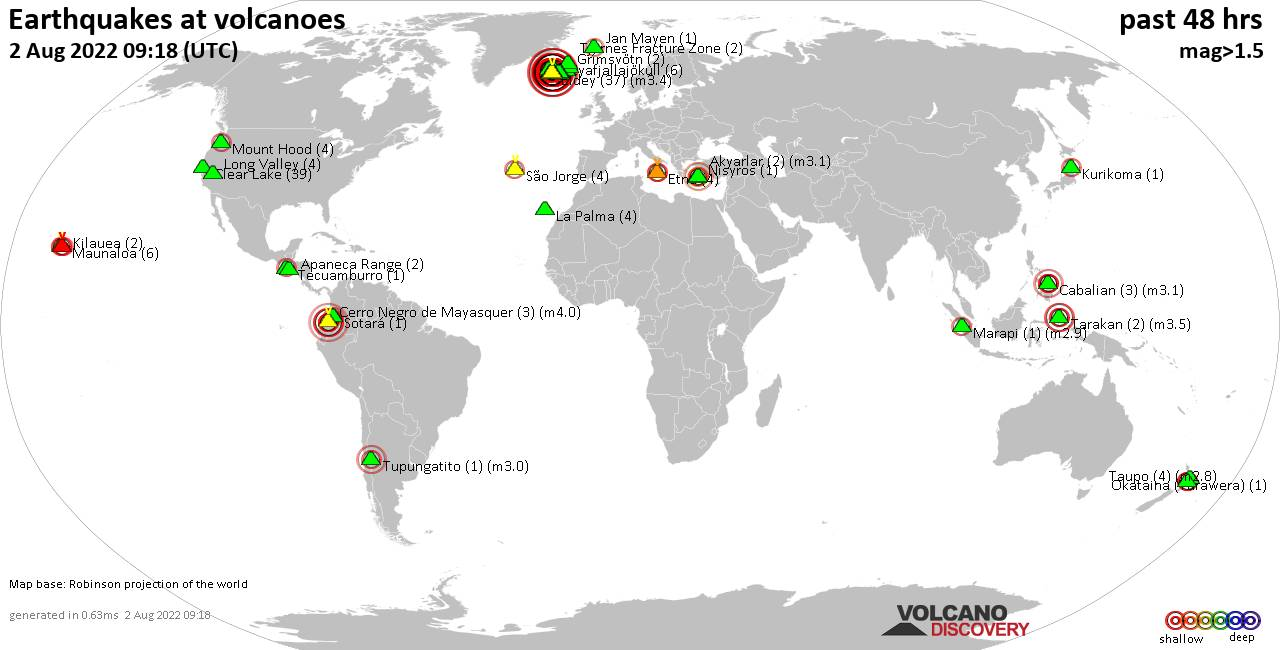 Shallow earthquakes near active volcanoes during the past 48 hours (update 02:30, Monday, 25 Sep 2017)