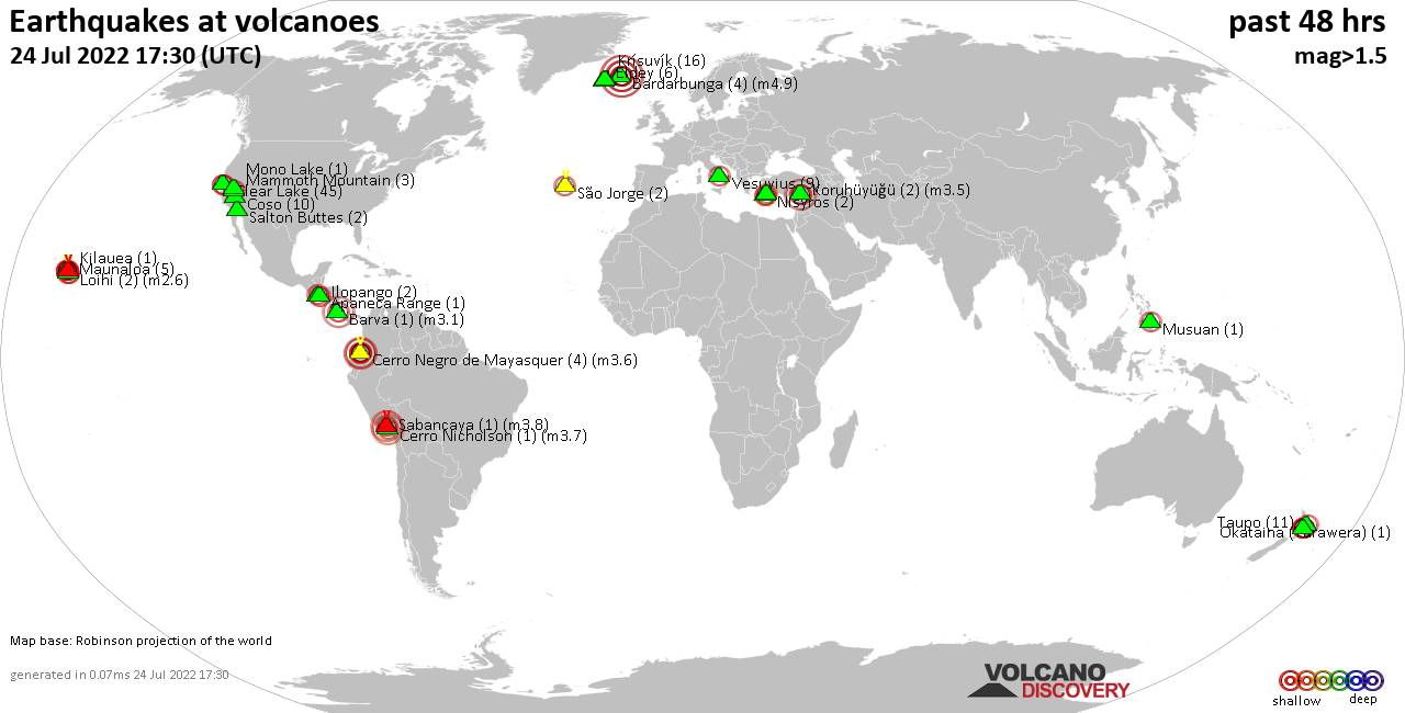 Shallow earthquakes near active volcanoes during the past 48 hours (update 14:54, Wednesday, 13 Dec 2017)