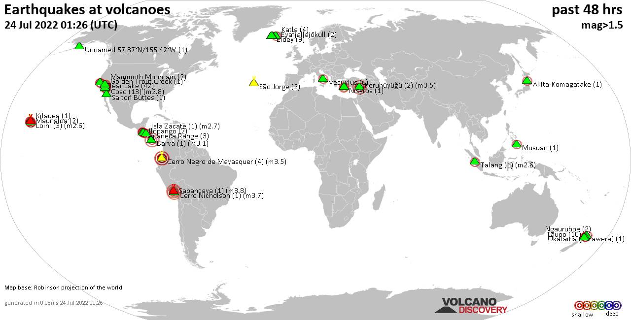 Shallow earthquakes near active volcanoes during the past 48 hours (update 18:38, Wednesday, 20 Jun 2018)