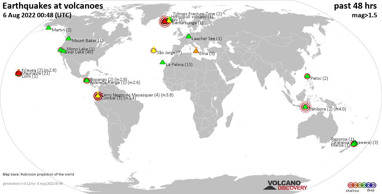 Shallow earthquakes near active volcanoes during the past 48 hours (update 10:27, mercredi, 16 janv. 2019)