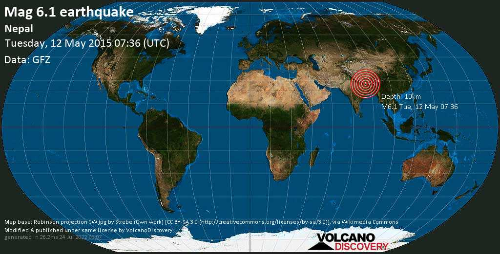 Strong mag. 6.1 earthquake  - Nepal on Tuesday, 12 May 2015