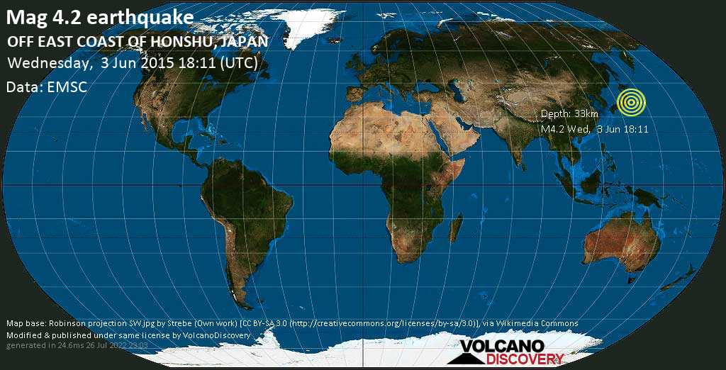 Light mag. 4.2 earthquake  - OFF EAST COAST OF HONSHU, JAPAN on Wednesday, 3 June 2015
