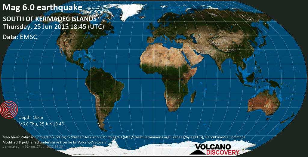 Strong mag. 6.0 earthquake  - SOUTH OF KERMADEC ISLANDS on Thursday, 25 June 2015
