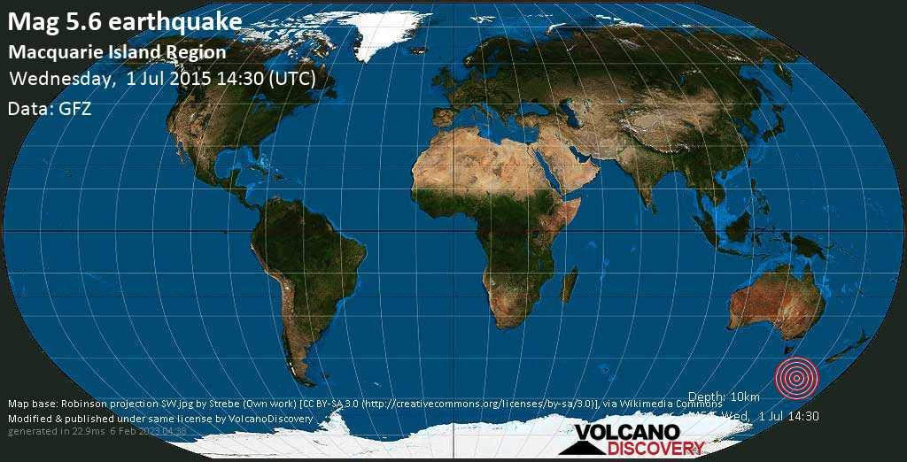 Moderate mag. 5.6 earthquake  - Macquarie Island Region on Wednesday, 1 July 2015