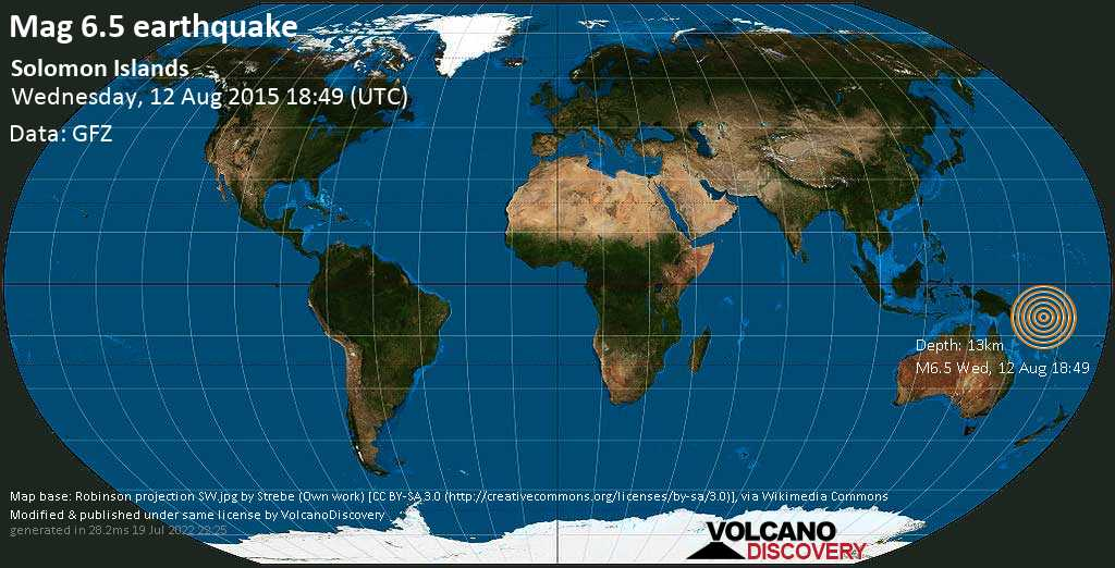 Strong mag. 6.5 earthquake  - Solomon Islands on Wednesday, 12 August 2015