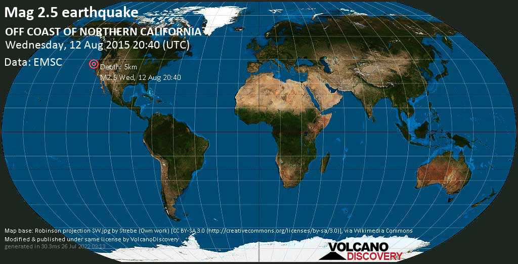 2 5 earthquake off coast of northern california on wednesday 12 august 2015