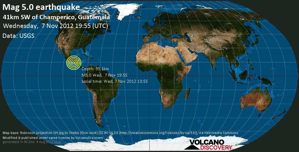 Moderate mag. 5.0 earthquake  - 41km SW of Champerico, Guatemala on Wednesday, 7 November 2012