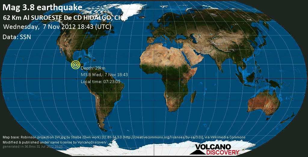 Minor mag. 3.8 earthquake  - 62 km al SUROESTE de  CD HIDALGO, CHIS on Wednesday, 7 November 2012