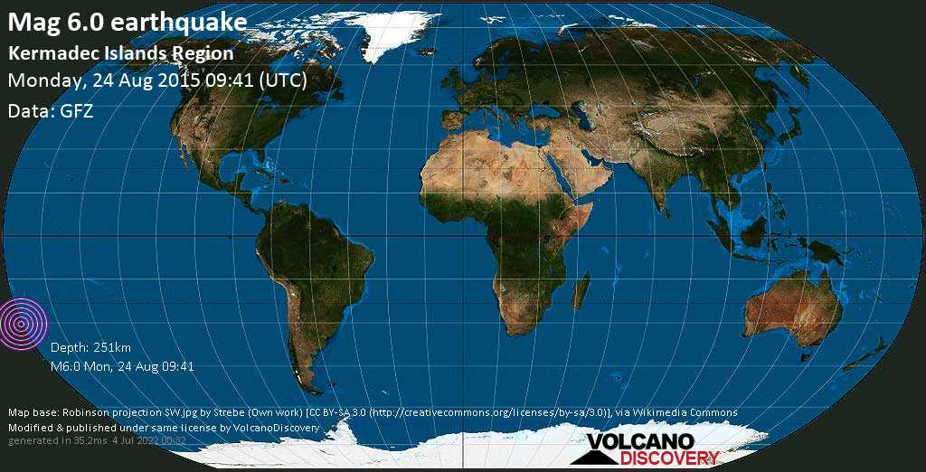 Strong mag. 6.0 earthquake  - Kermadec Islands Region on Monday, 24 August 2015