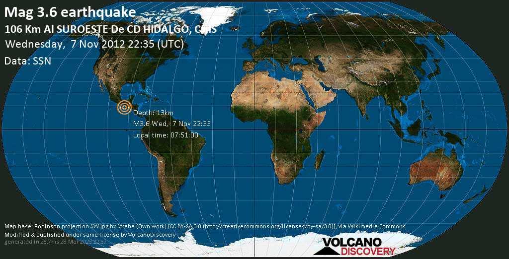 Minor mag. 3.6 earthquake  - 106 km al SUROESTE de  CD HIDALGO, CHIS on Wednesday, 7 November 2012