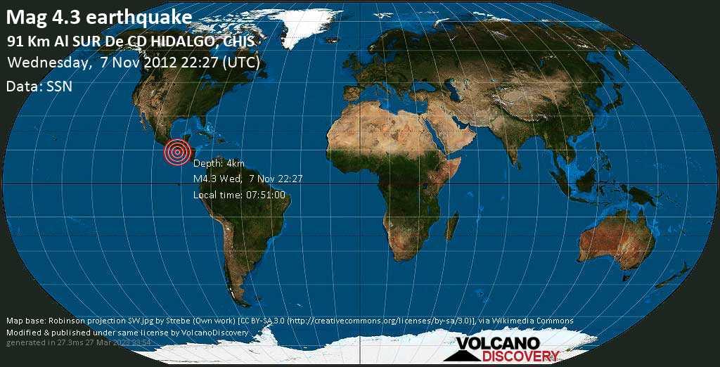 Light mag. 4.3 earthquake  - 91 km al SUR de  CD HIDALGO, CHIS on Wednesday, 7 November 2012