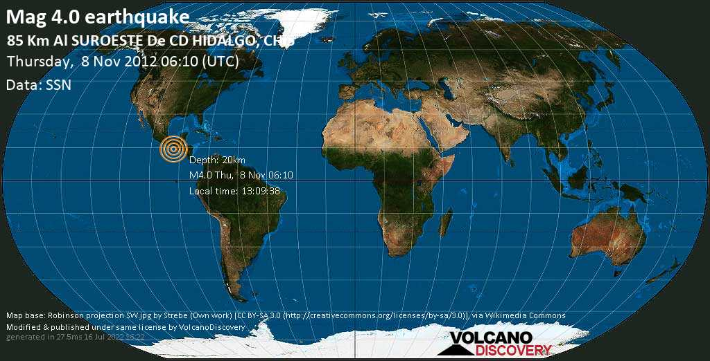 Light mag. 4.0 earthquake  - 85 km al SUROESTE de  CD HIDALGO, CHIS on Thursday, 8 November 2012
